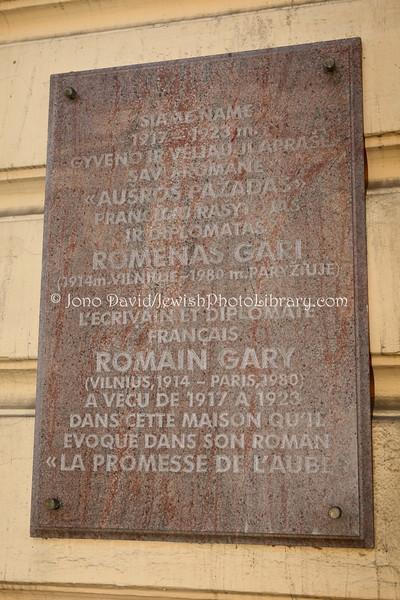 LT 2511  Home of Romain Gary (Roman Kacev), and other Jewish artists:writers (Basanaviciaus Steet 18)
