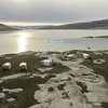 Aerial view of Natural Habitat's Base Camp Greenland at sunset
