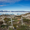 Cemetery in Tinit overlooking Sermilik Fjord and the Greenland Ice Cap