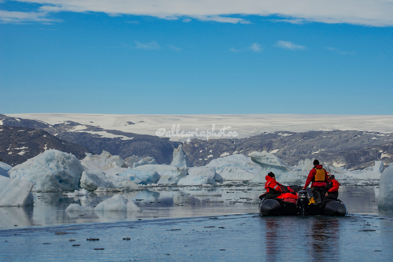 Heading across Sermilik Fjord towards The Greenland Ice Cap