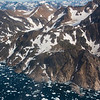 Aerial view of coastline of Eastern Greenland