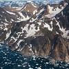 Aerial view of coastline of Eastern Greenland