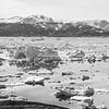 Black and white view across Sermilik Fjord