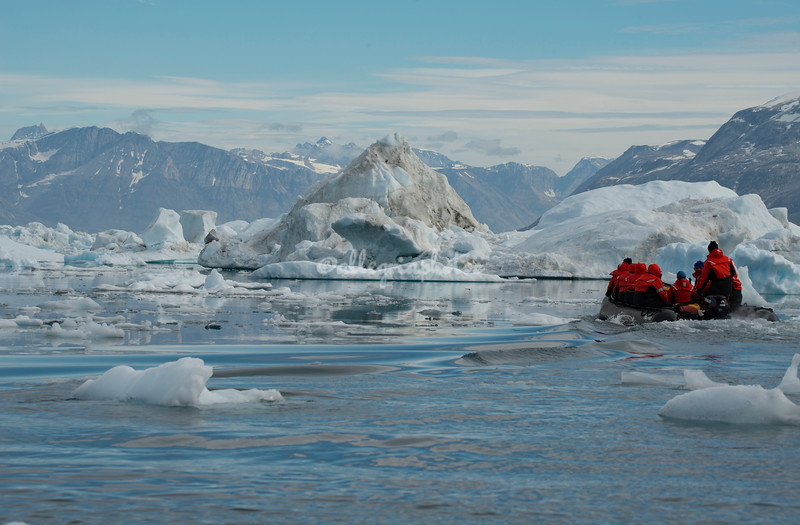 Exploring the icefield of Sermilik Fjord by Zodiac