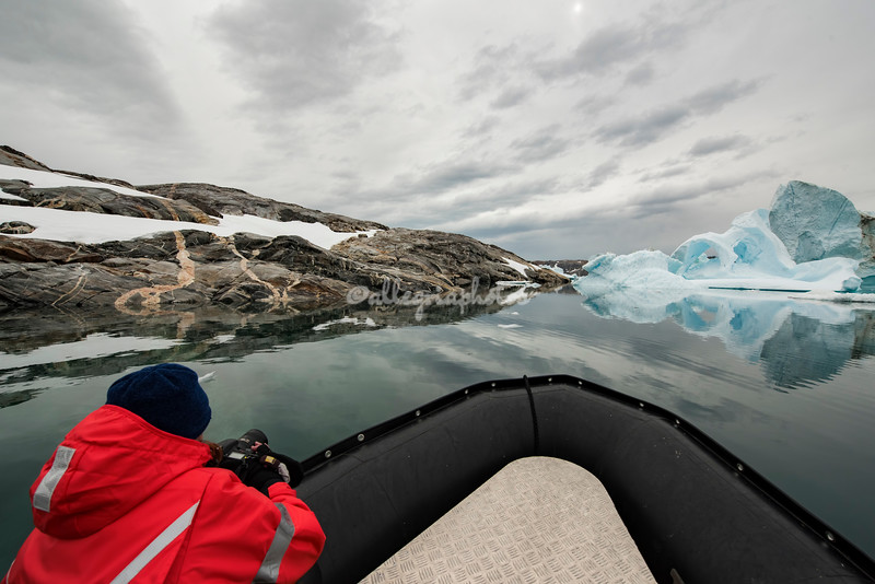 Photographing the ice from a Zodiac, Sermilik Island