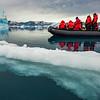 Zodiac amidst the icefields, Sermilik Fjord