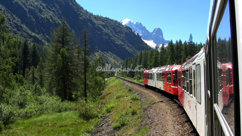 Train through the Alps towards Les Aiguilles du Midi