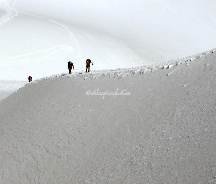 Climbing near L'Aiguilles du Midi