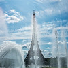 The Eiffel Tower through the fountains and Jardin de Trocadero, Paris