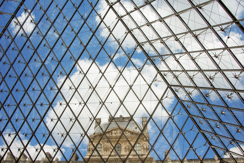 Looking out through the IM Pei Pyramid, The Louvre