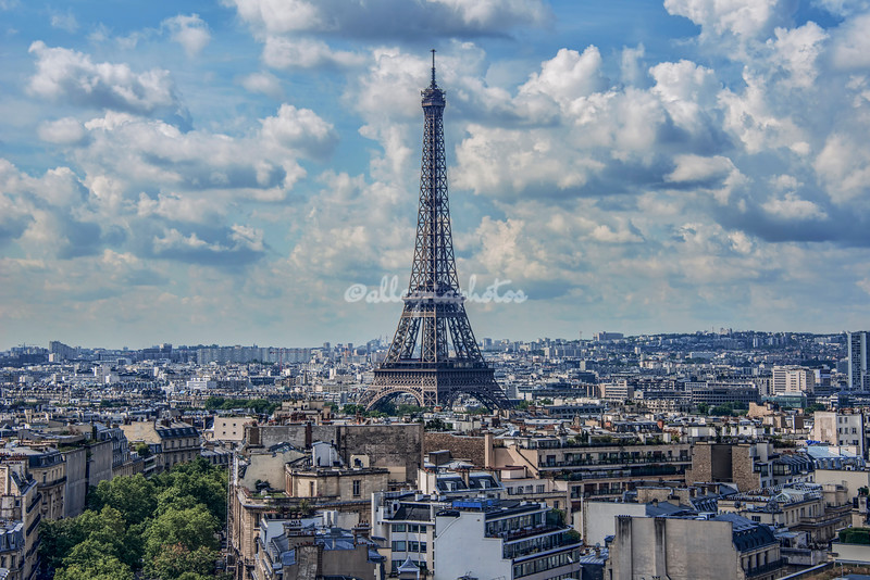 The Eiffel Tower as seen from the Arc de Triomphe, Paris, France