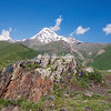 Mt Kazbek from Gergeti Monastery