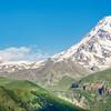 Mt Kazbek and the Gergeti Monastery