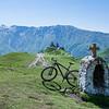 Cyclist near Gergeti Monastery