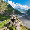 Shrine overlooking river, Kazbegi