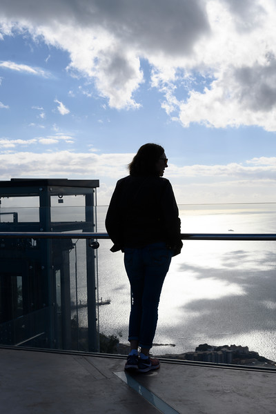 Tourist at an observation point, Gibraltar, British Overseas Territory, Iberian Peninsula
