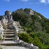 Tourists at ancient fort, Gibraltar, British Overseas Territory, Iberian Peninsula