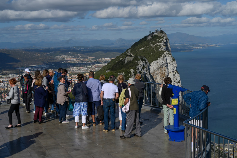 Tourists at an observation point, Gibraltar, British Overseas Territory, Iberian Peninsula