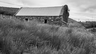 Stone Farmhouse in a field, Achill Island, County Mayo, Ireland