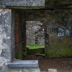 Graffiti on the wall of abandoned building, Achill Head Hike, Achill Island, County Mayo, Ireland
