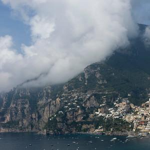 View of town at coast, Amalfi Coast, Salerno, Campania, Italy