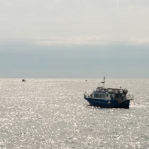 Trawler in sea, Amalfi, Amalfi Coast, Salerno, Campania, Italy
