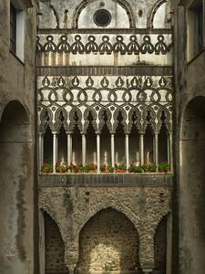 Architectural detail of the Villa Rufolo, Ravello, Amalfi Coast, Salerno, Campania, Italy