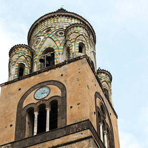 Low angle view of bell tower of the Amalfi Cathedral, Amalfi, Amalfi Coast, Salerno, Campania, Italy