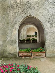 Potted plants at Villa Rufolo, Ravello, Amalfi Coast, Salerno, Campania, Italy