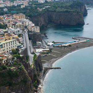 Elevated view of town at coast, Amalfi Coast, Salerno, Campania, Italy