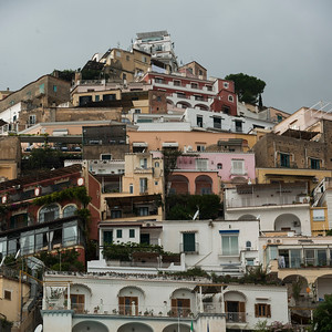 Residential buildings on hill, Positano, Amalfi Coast, Salerno, Campania, Italy
