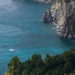 Elevated view of coastline, Amalfi Coast, Salerno, Campania, Italy