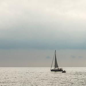 Sailboat in sea, Positano, Amalfi Coast, Salerno, Campania, Italy
