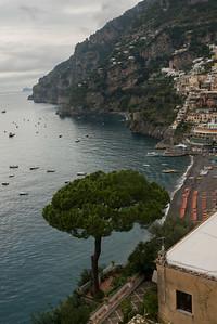 View of town at coast, Positano, Amalfi Coast, Salerno, Campania, Italy