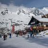 Tourists at ski resort, Alpine Resort, Aosta Valley, Courmayeur, Northern Italy, Italy