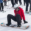 Tourist on a snow board at Alpine Resort, Aosta Valley, Courmayeur, Northern Italy, Italy