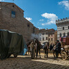People with horse carts on street, Montepulciano, Siena, Tuscany, Italy