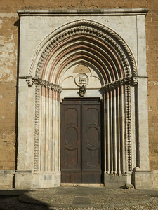 Architectural detail of entrance of a building, Orvieto, Terni Province, Umbria, Italy