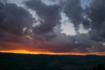 View of landscape against cloudy sky at sunset, Orvieto, Terni Province, Umbria, Italy