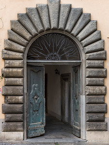 Architectural detail of doorway of a building, Orvieto, Terni Province, Umbria, Italy