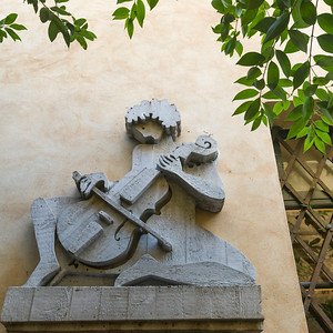 Sculpture on wall, Orvieto, Terni Province, Umbria, Italy