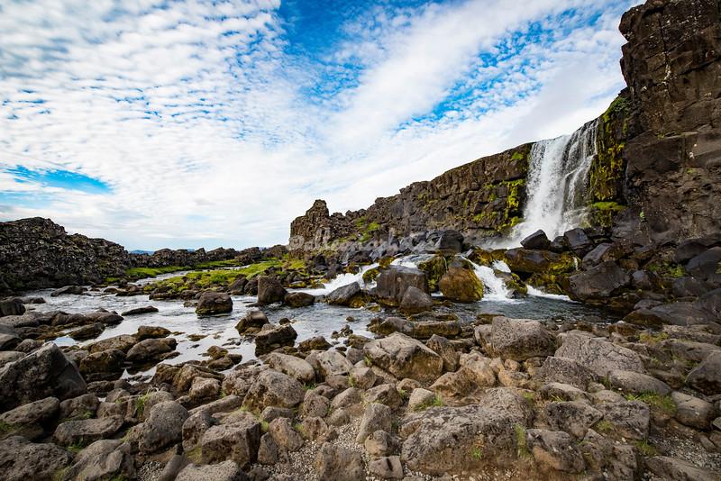 The Oxararfoss Waterfalls. Pingvellir