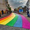 Skolavthrthustigur Street leading to Hallgrimskirkja during Gay Pride Week