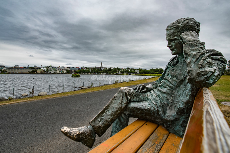 Statue along Lake Tjornin, Reykjavik