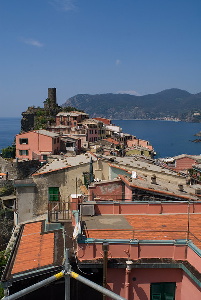 The scenic view of the Mediterranean Sea from the terrace in Vernazza