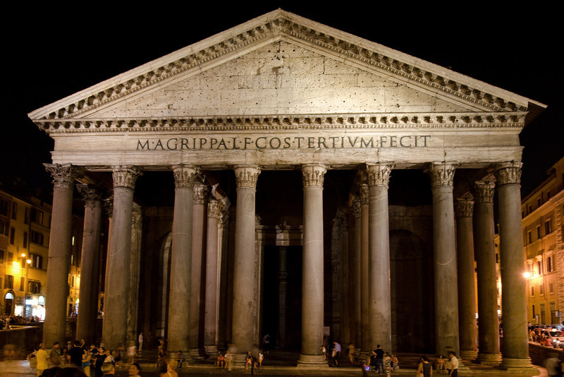 Pantheon, Night<br /> <br /> The more recent stone facade<br /> <br /> Rome, Italy