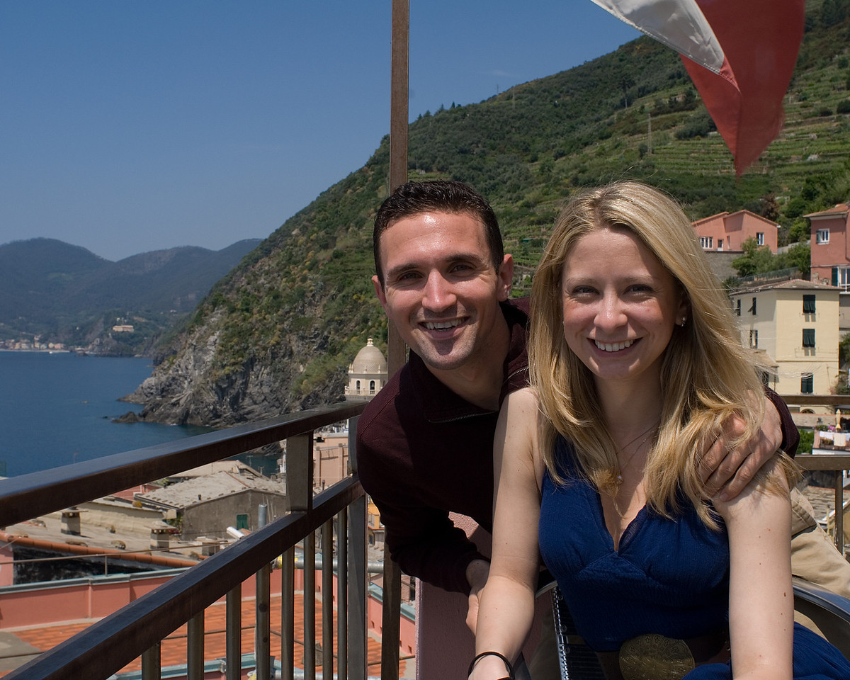 Sarah and me on our terrace over the town of Vernazza in the Cinque Terra area on the west coast of Italy.