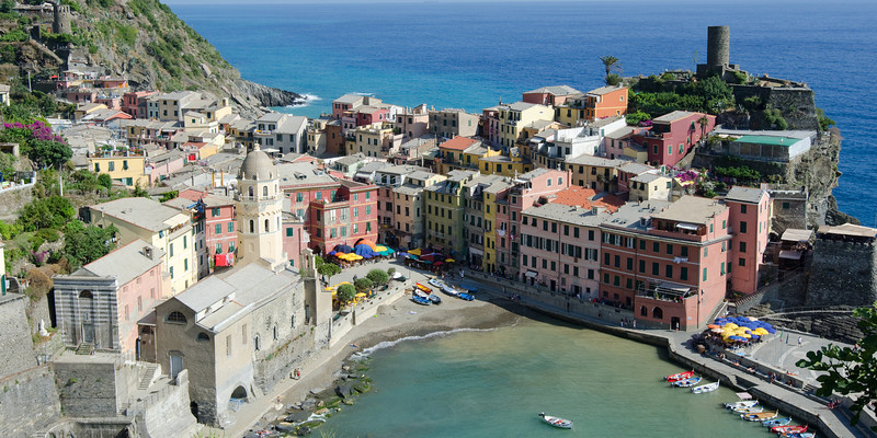 Vernazza<br /> <br /> Closer, wide view<br /> <br /> Cinque Terre, Italy