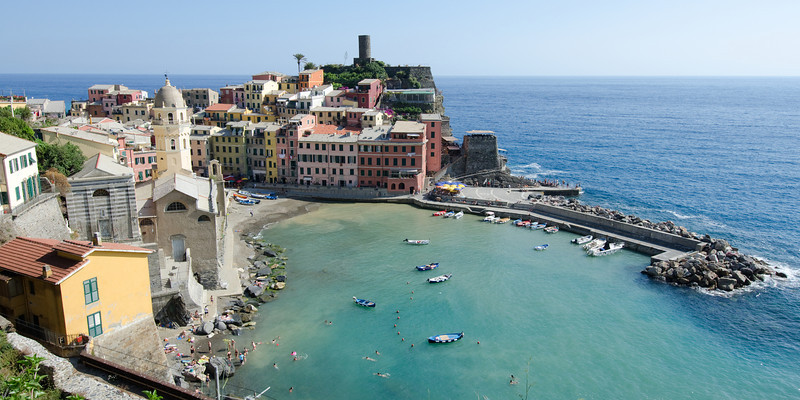 Vernazza<br /> <br /> Showing the cove where the mud and other debris from last year's devastation was deposited.  In 2011 this cove was clear to the bottom.<br /> <br /> Cinque Terre, Italy
