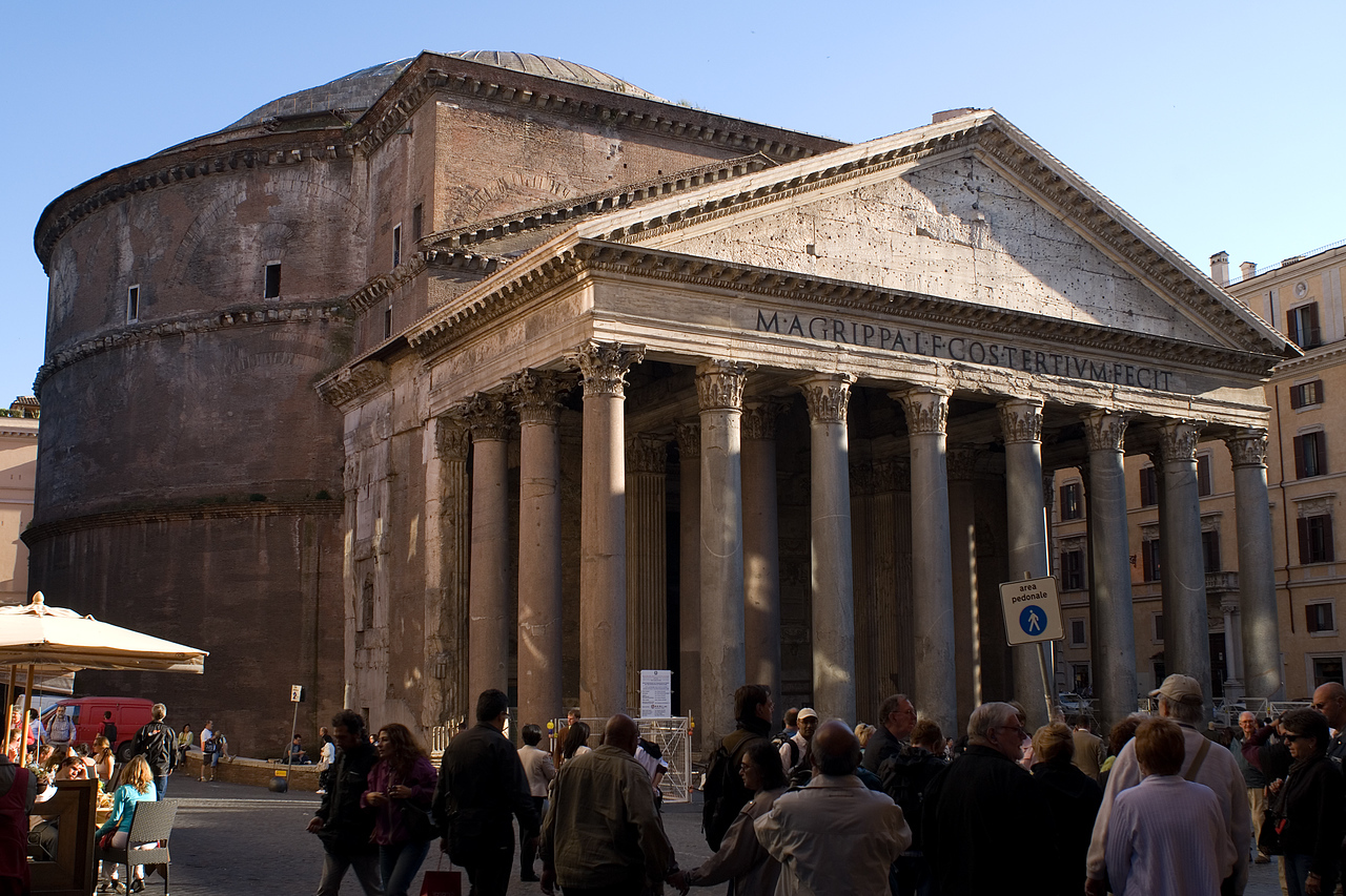 Pantheon in Rome<br /> <br /> Another BIGGER AND BETTER of the Roman architecture scene.  It's Impossible to estimate the scale without being there.